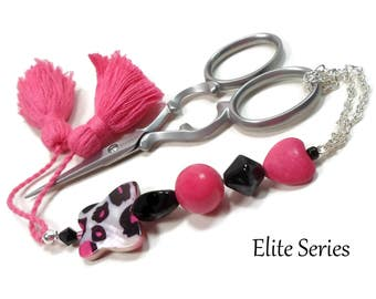 Scissor Fob Pink Butterfly Heart Scissor Minder Beaded Scissor Keeper Elite Series Needlepoint Quilting Sewing Cross Stitch