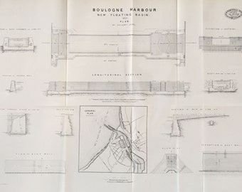 Large Antique Technical Drawing - Boulogne Harbour - 1869 Rare Poster-Sized Engineering Drawing