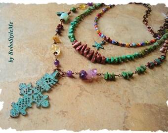 Boho Cross Necklace, Multiple Strand Rustic Gemstone Necklace, Boho Style, Bohemian Jewelry, BohoStyleMe, Kaye Kraus