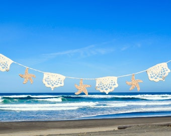 Beach Theme Garland Banner Bunting Crochet Starfish & Lace Lotus Nautical Seaside Ocean Wedding