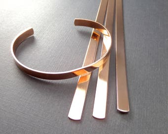 "6 Cuffs - 1/4"" x 5"" Copper or Jeweler's Brass 18 Gauge Tumble Polished or RAW Bracelet Blank Cuffs - 6 Cuffs - FLAT"