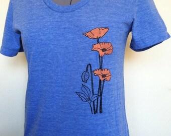 California Poppies T Shirt Slim Fit Womens TriLemon Sizes Small through XLarge