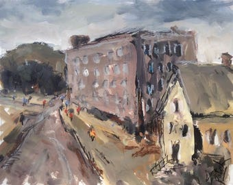 Expressionist painting, Old mill building in New England,   11 x 14 , grey, brown, beige, blue  tonal expressive painting,   Russ Potak