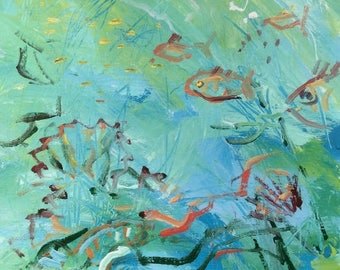 Expressive Fish Painting, Tropical Reef Fish art