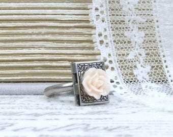 Silver Locket Ring Book Locket Ring Book Lover Gift Peach Rose Ring Gift For Reader Book Jewelry