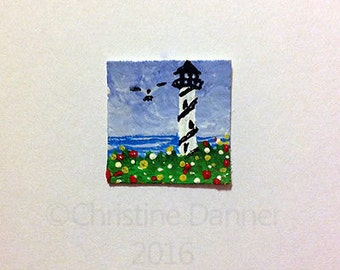 Tiny Miniature Dollhouse Art 3/4 x 3/4 inch Painting Striped Lighthouse Seagull