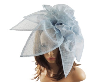 Carnation Baby Blue Fascinator Hat for Melbourne Cup, Kentucky Derby & Ascot