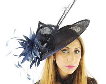 Adonis Navy Blue Fascinator Hat for Weddings, Races, and Special Events With Headband