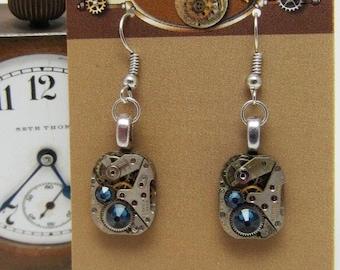 Steampunk watch earrings - Almost Time  - Steampunk Earrings - Sapphire - Repurposed art