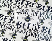 Weatherproof Vinyl Sticker - Save the Bees - Unique, Fun Sticker for Car, Luggage, Laptop - Artstudio54