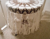 Vintage off white small Crocheted Tablecloth