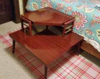 Vintage Mid-Century Dark wood Two-Tiered Corner Table