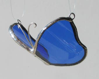 Small Blue 3D Butterfly - Upcycled Stained Glass Suncatcher Home Decor