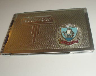 Stamp book Art Deco engine turned chrome plated Isle of Wight souvenir vintage