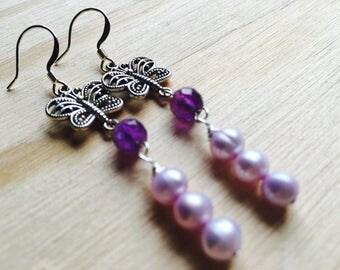 Butterfly earrings, purple earrings