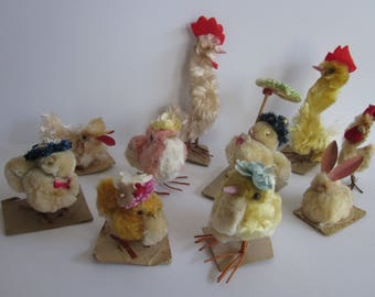 Spring chickens !  Set of ten vintage chenille easter chicks, duck, bunny and roosters.