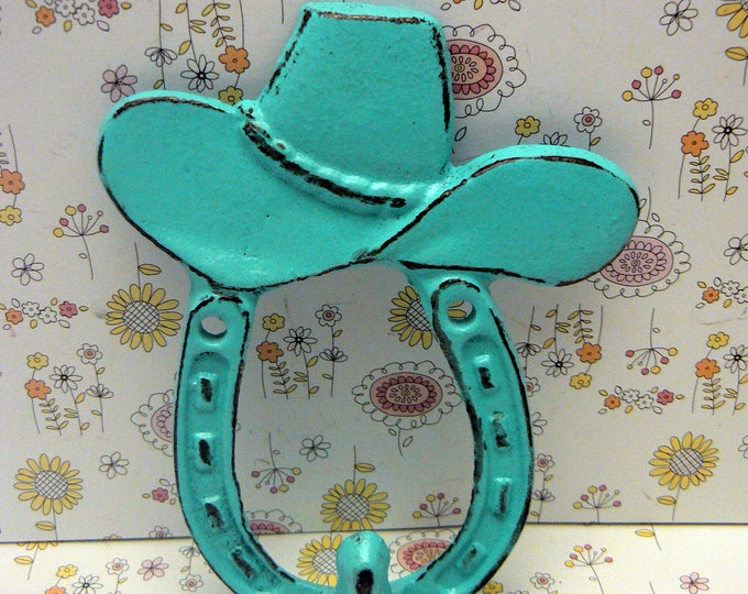 Cowboy Hat Horseshoe Cast Iron Hook Turquoise Shabby Chic Home Decor