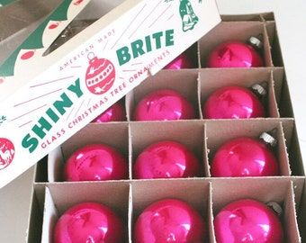 Vintage Shiny Brite Pink Glass Christmas Ornaments Balls