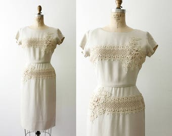 linen and lace dress / 50s linen dress / Lace Bypass dress