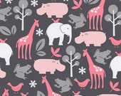 SALE FABRIC - Zoology in Bloom - Michael Miller Fabric - 100% Cotton FLANNEL Fabric - Pink and Grey Animal Fabric - Gray and Pink Animals