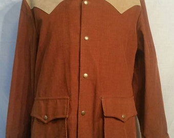 """Vintage Woolrich mens western style coat jacket, corduroy, large, rust color, leather tooling eagle detail, 46"""""""