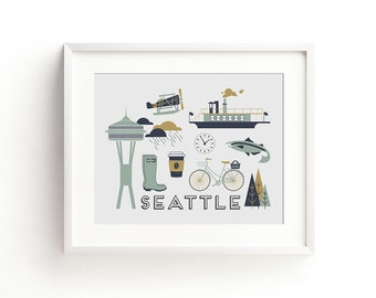 Seattle Letterpress Art Print