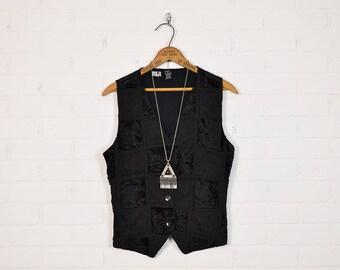 Vintage Black Velvet Vest Crushed Velvet Blouse Top Jacket Embroidered Vest Boho Vest 70s Hippie Vest 90s Grunge Vest Gypsy Goth S Small