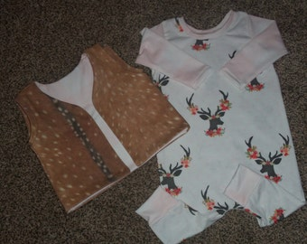 Baby Girl Coverall Romper//Harem Romper//Matching Vest//Deer Design//Sized 6-9 Months
