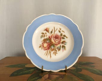 Floral Plate Blue White Pink Red Roses Vintage Distressed Shabby Chic Home Decor