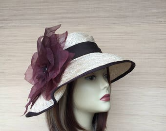 Women's Straw Hat, Summer Hat, Hat with Big Flower, Free Form Hat, Sun Hat, Kentucky Derby, Bridal Hat, Casual Unique Shaped Hat