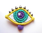 Eye Brooch-ThousandEyes Yellow and Green by FridaWer-MADE TO ORDER-embroidered brooch,textile fiber brooch,art brooch,statement Brooch