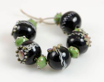 Bling in Black -- Lampwork Glass  Beads