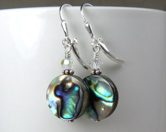 Flat Round Abalone Earrings, Sterling Silver Shell Jewelry, Paua Shell Earrings, Natural Teal Blue Mother of Pearl, Handmade Beach Jewelry