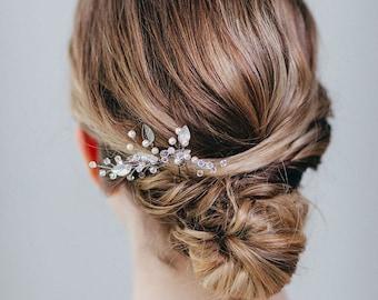 Silver Leaf Hair Pin | Silver Wedding Hair Comb | Pearl Hair Pins | Crystal Bridal Hair Clip | Bridesmaids Hair Pins [Iverness Hairpin]