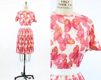 50s Dress Butterfly Print XS / 1950s Dress Novelty Print / Monarch Summer Dress