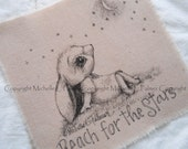Original Pen Ink on Fabric Illustration Quilt Label by Michelle Palmer Baby Little Girl Bunny Rabbit Starry Night Moon Reach for the stars