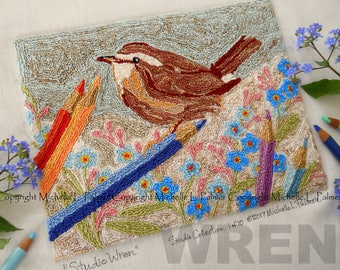 Punch Needle Embroidery DIGITAL Jpeg and PDF PATTERN Michelle Palmer Painting with Threads Studio Wren Bird Songbird Forget Me Not Pencils