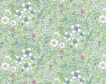 Liberty Fabric June's Meadow Y Green Exclusive  Tana Lawn Fat Quarter
