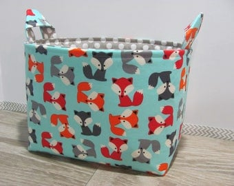 SALE LARGE Fabric Organizer Basket Storage Container Bin Bucket Bag Diaper Holder Home Decor- Size Large - Foxs - RTS