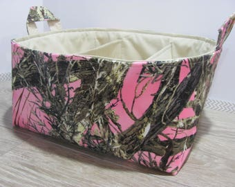 SALE Fabric Diaper Caddy - Storage Container Basket - Organizer Bin - Tote Bag - Bucket- Baby Gift - Nursery - Camo real tree pink - RTS