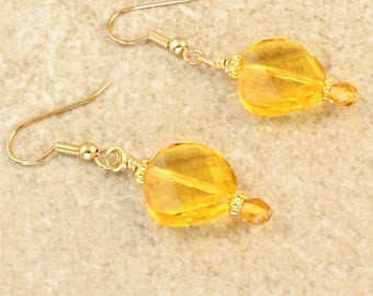 Swarovski Twisted Oval Yellow Topaz and Gold Plated Ear Wire Earrings