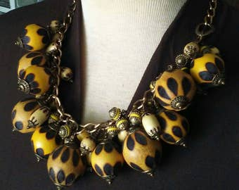 Repurpose Vintage Hand BurntWooden Bead Necklace / Play Time