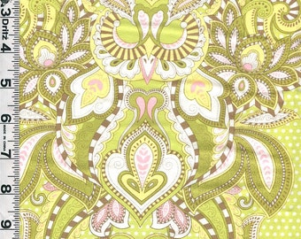 Fabric Moda Tula Pink Hush A Bye Hushabye Owls vertical stripe green pink colorway out of print RARE BTY