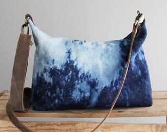 Bleached Denim Acid Wash Purse Day Bag Medium Navy Blue