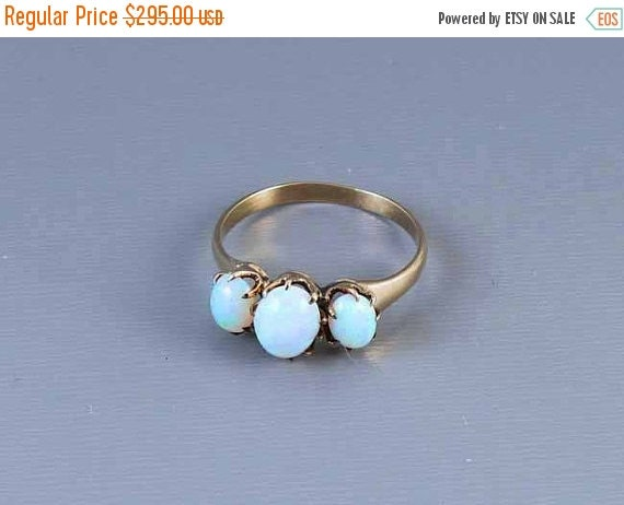 Holiday Sale Antique Victorian rose gold 3 opal ring size 7