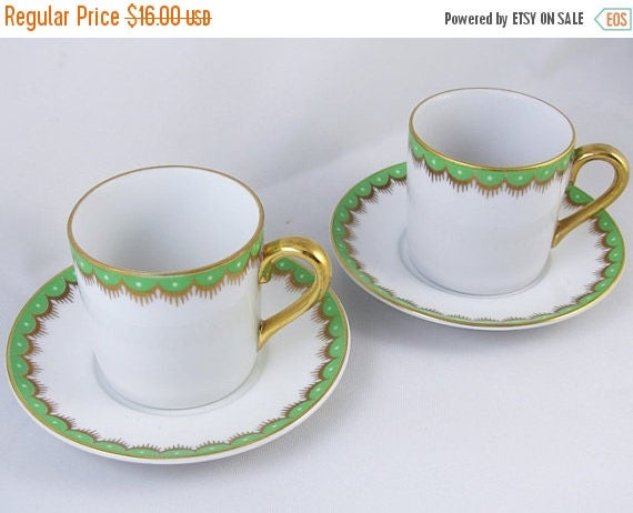 SPRING CLEANING SALE Pair of vintage Fitz and Floyd white green hand painted demitasse cup and saucer / porcelain / china / bone china / tea
