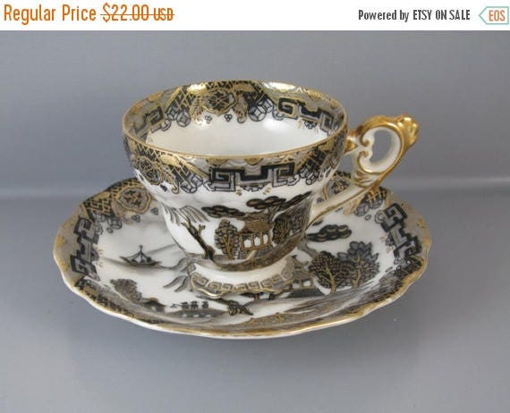 SPRING CLEANING SALE Vintage hand painted black gold Japan demitasse cup and saucer / porcelain / china / bone china / tea / coffee