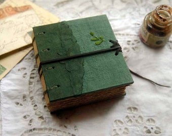 Forest Mystery - Vintage Linen Journal, Hand Dyed, Watercolour Pages - OOAK