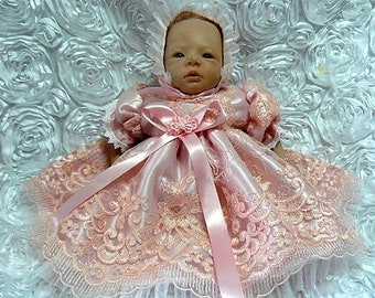 Peach Pink DRESS for REBORN Doll or NEWBORN Baby  Victorian Pageant Wedding Baptism