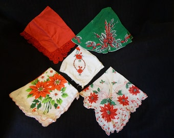 Vintage Christmas Themed Handkerchiefs  Set of 5